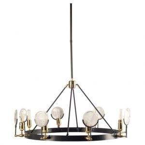 Emporium Gas Light House Chandelier with Magnify Round Ribbed Glass Circle