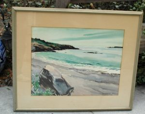 Old Nautical Marjorie Garfield Watercolor Painting of Sea Shore Listed Artist