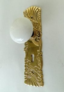 Victorian Reproduction Door Hardware Passage The DECO Fan w White Porcelain Knobs