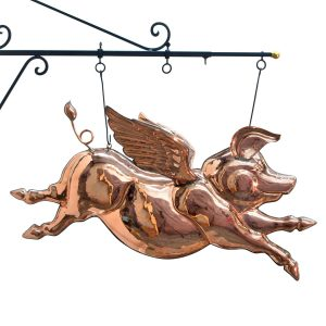Winged Old Style Copper PIG Trade Sign Figure Angel Barbeque Pork Flying
