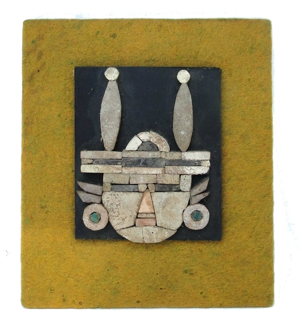 Mayan Art Stone Fabric and Ceramic Vintage Old Wall Decor Rare Piece ...