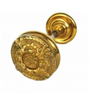 Vintage Brass Swirl Center Big Victorian Arts and Crafts Style Door Knob Pair