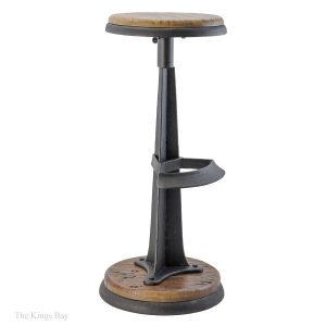 Industrial Cast Iron & Wood Handsome Bar Stool Antique Style for Restaurant Bar