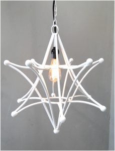 Shooting Star Pendant White Light Fixture With Chain and Black Cloth Wire