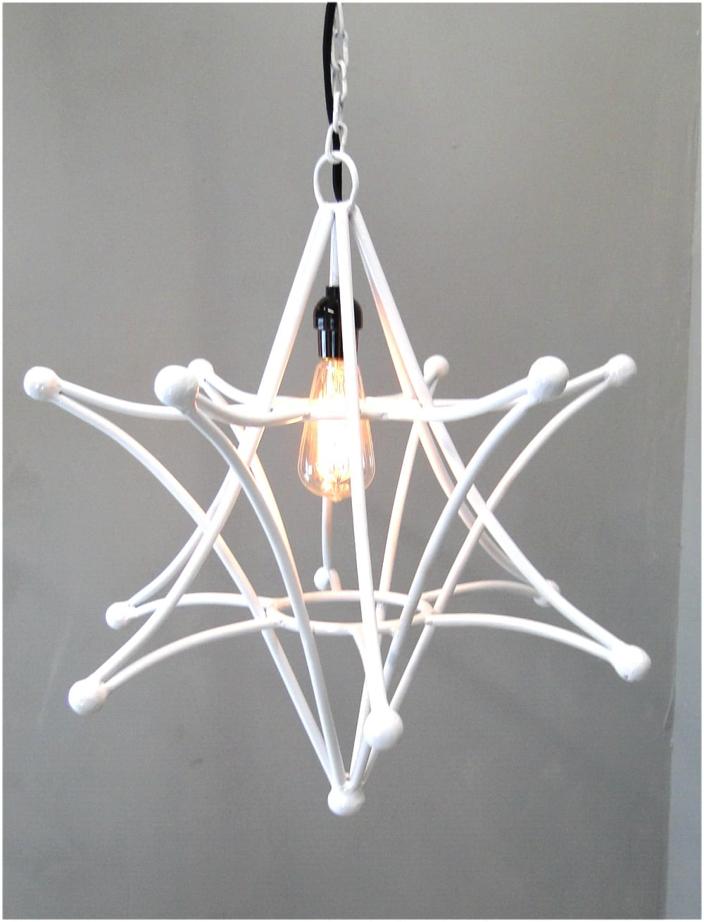 Shooting Star Pendant White Light Fixture With Chain And