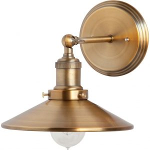 Wall Sconce w Mirror Glass in Brass Finish Old Victorian Turn of Century Style