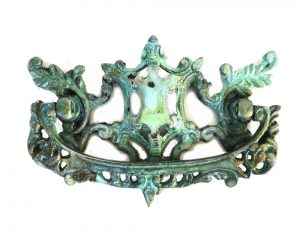 Old Cabinet Hardware CHIPPENDALE REPLICA Dresser Pull Solid Brass Oak Vintage Tiffany Green