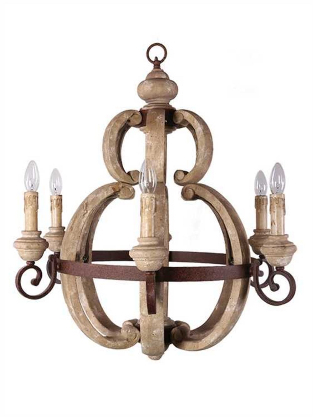 Aged french country cottage style large round wood chandelier light aged french country cottage style large round wood chandelier light fixture the kings bay arubaitofo Gallery