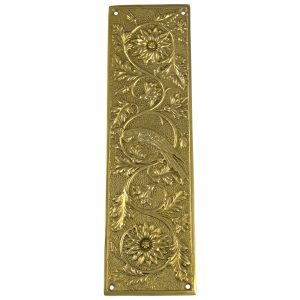 Antique Push Plate Parrot Bird Motif Door Hardware Vintage Restoration Replica