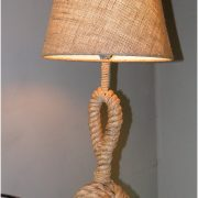 Monkey Fist Knot Ball Nautical Side or End Table Lamp with Rope Hemp and Canvas Shade