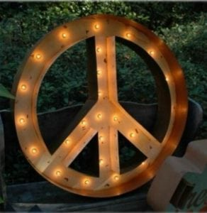 24″ Lighted Tin Metal Peace Sign Chic Retro Wall Art Hand Made & Painted