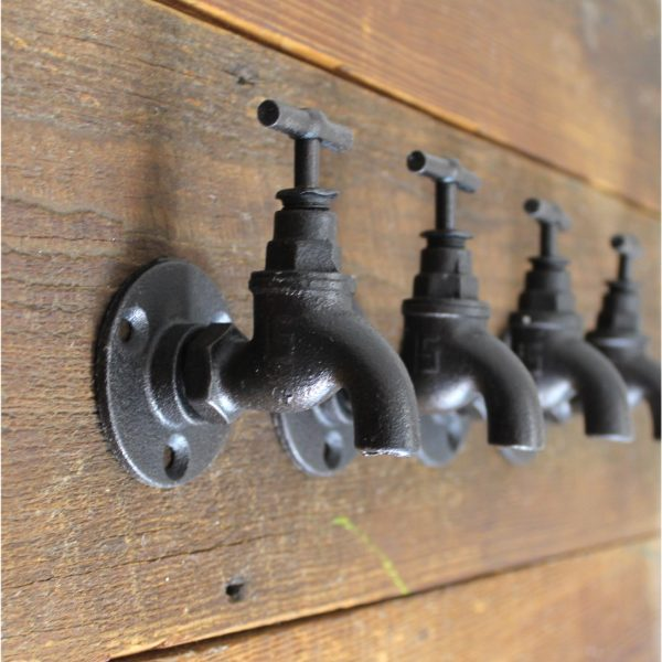 Old Style Country Wall Faucet Spigot Cast Iron Bath Towel Hook Set of 4pcs