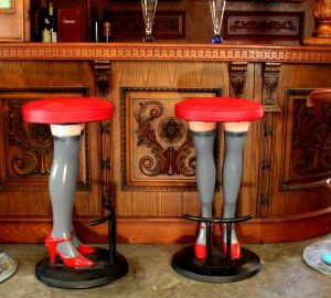 Sexy Bar Stools High Heels & Perfect Legs in Stockings Red Vinyl Seat Metal Pair
