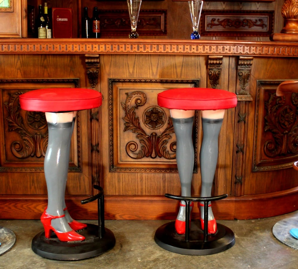 Marvelous Girls Legs Bar Stools High Heels In Stockings Red Vinyl Seat Metal Pair Pabps2019 Chair Design Images Pabps2019Com