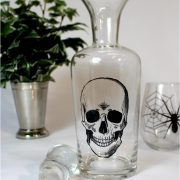 Skull Decanter Liquor Bottle Hand Blown Clear Glass and Stopper