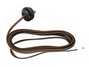 Replacement Lamp Cord Rayon Covered with Bakelite Round Plug 10′ Wire Parts