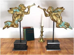 Big Gabriel Angels w Gold Leaf Trumpet on Heavy Iron Pedestal Holiday Cherubs PR