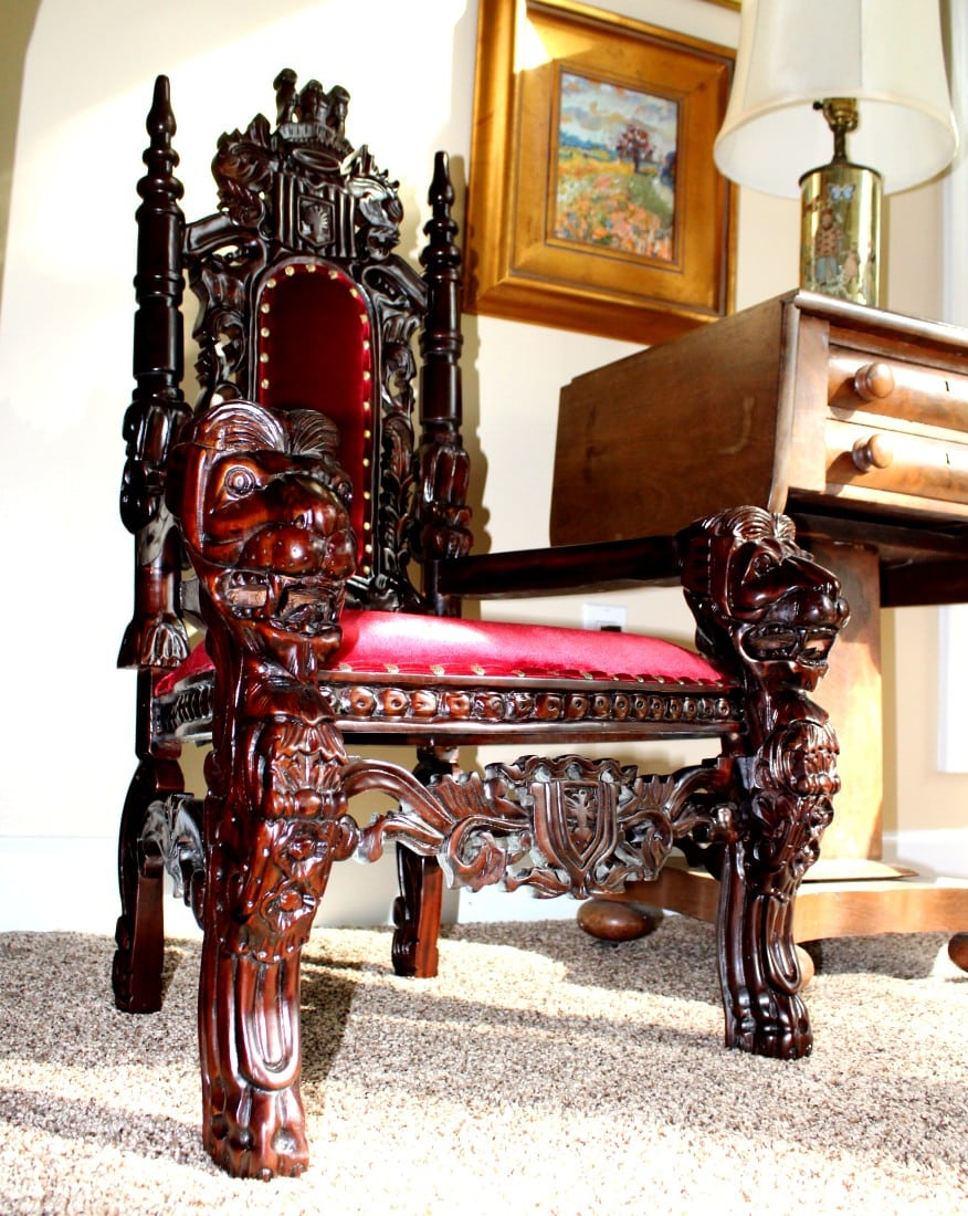 Childu0027s 36u2033 Mahogany Lion King Throne Chair Queen Prince Princess Red Velvet