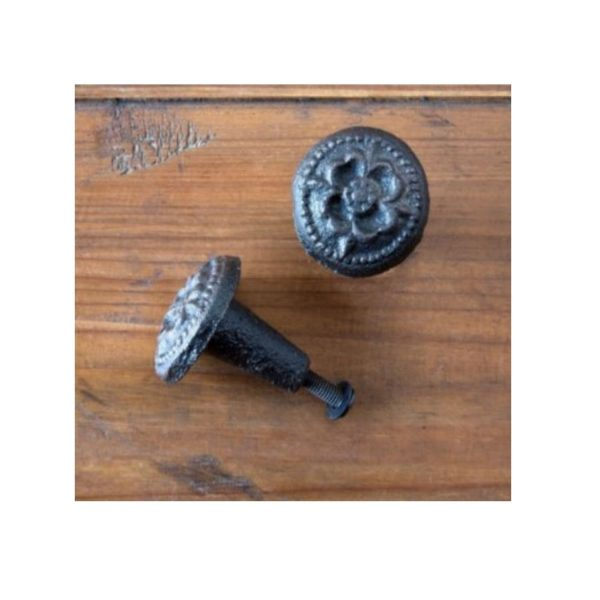 Rough Texture Pair of Cast Iron Embossed Flower Cabinet Hardware Knobs