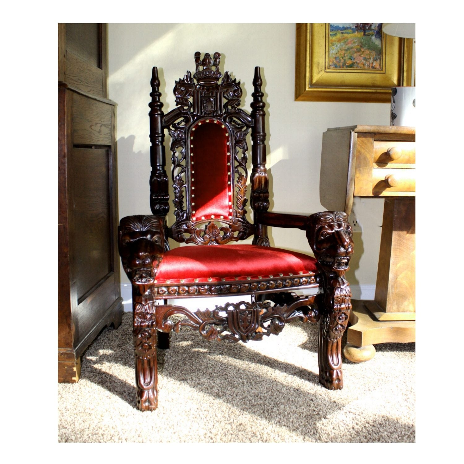 Child S 36 Gany Lion King Throne Chair Queen Prince Princess Red Velvet
