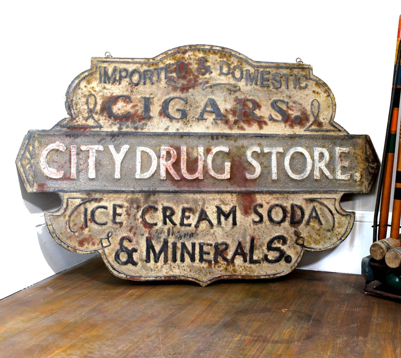 Trade Sign In Pressed Tin