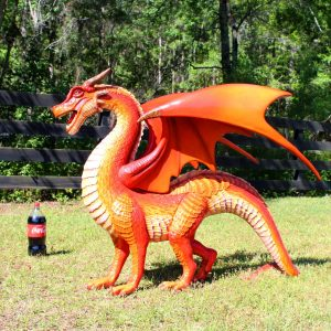 Red Dragon Sculpture or Statue Wings and Sharp Teeth with Long Tail 51″ Long