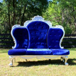 Giant Blue Velvet and Silver Throne Royal Three Seat Chair With Ball Claw Feet