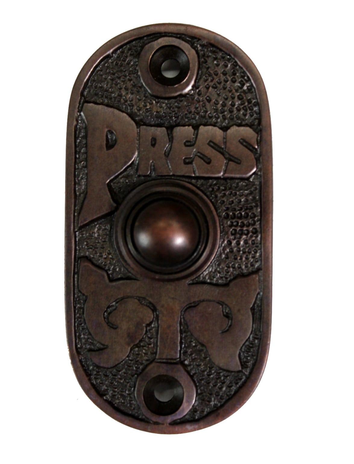 Oval Bronze Finish Press Door Bell Button Antique Vintage