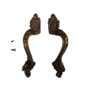 Fancy Aged Bronze Pair of Cabinet Hardware Pulls Decorative Surface Sold as Pair