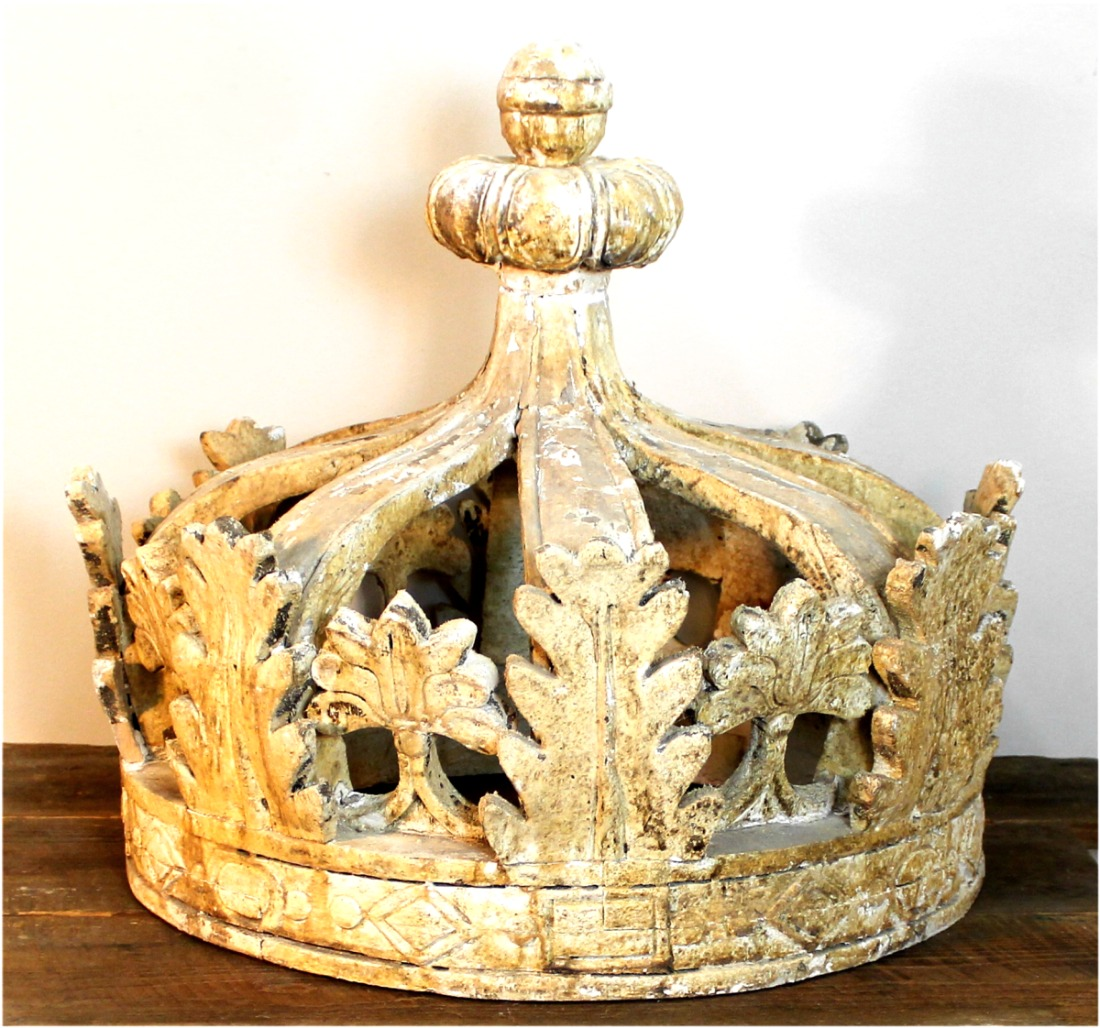Shabby Chic Old Style Aged Prince Princess Wood Crown with Leaves ...