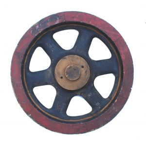 Antique Round Wood Pulley Wheel Foundry Industrial Factory Mold 26″ Round