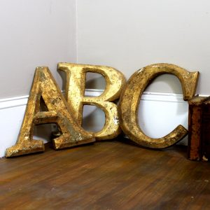 Pub Gold Leaf Wood Letters for Signs Wall Art Spell Anything Antique Repro 12″ T