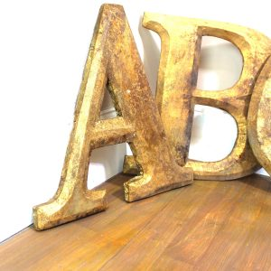 Pub Gold Leaf Wood Letters for Signs Wall Art Spell Anything Antique Repro 17″ T