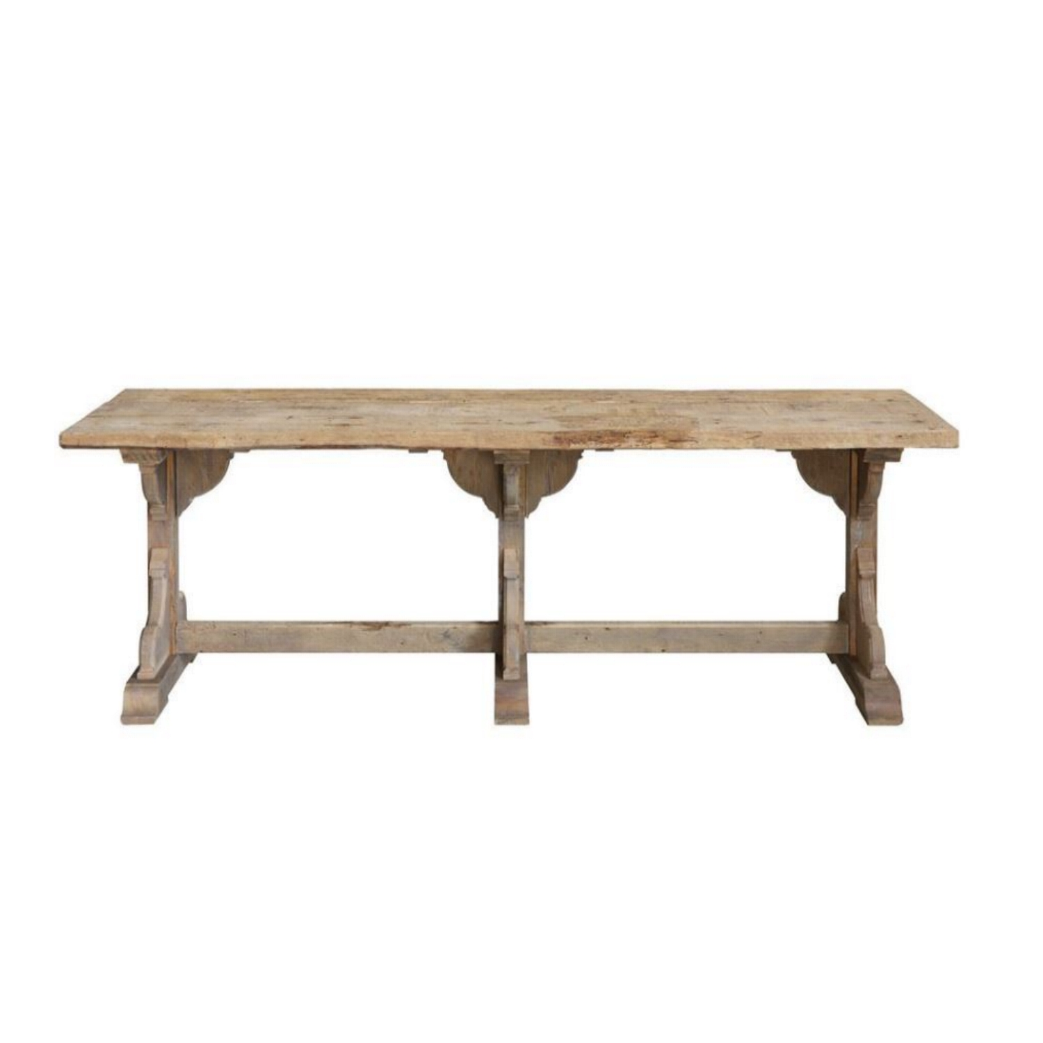 Recycled or Upcycled Wood Trestle Kitchen Table Old French Country Style