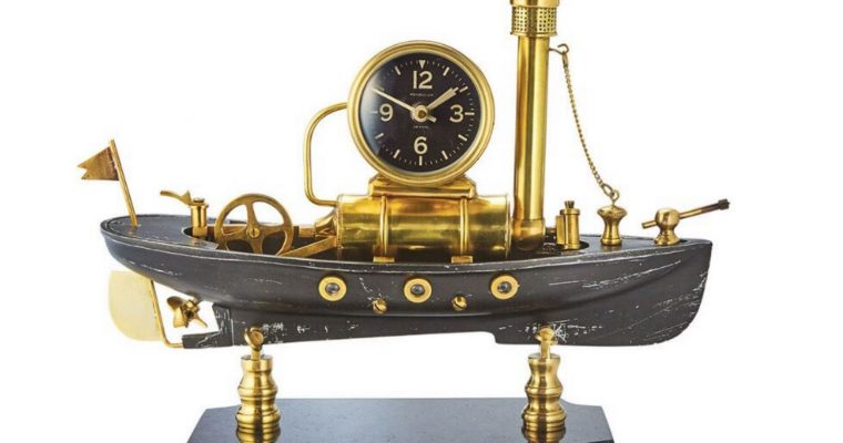 Steamboat Vintage Style Table Clock with Amazing Craftsman Ship Pendulux