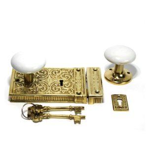 Vintage Solid Brass Victorian Rim Lock White Knobs Replica Restoration Hardware