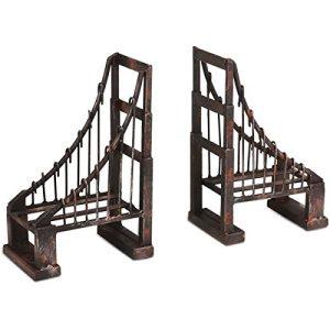 Distressed Iron Metal Suspension Bridge Bookends San Francisco Style Home Decor