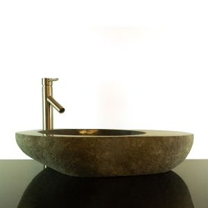 Big River Stone Vessel Sink with Tray Bar Bathroom Counter Top Deck RSTDD-01
