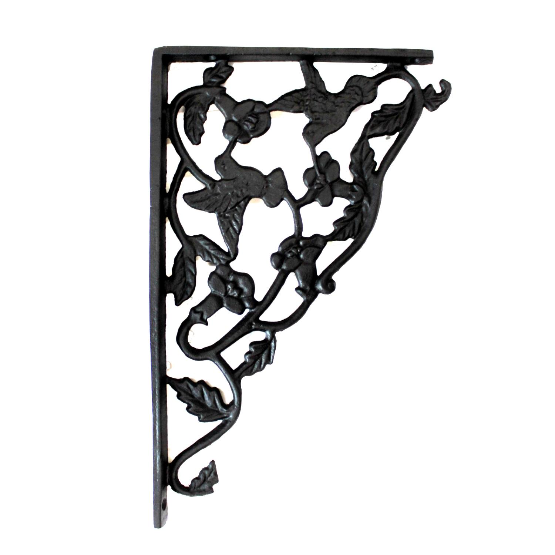 Cast Iron Hummingbird Shelf Brackets Black Finish Sold As Pair 2pcs