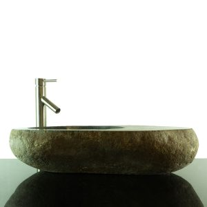 Big River Stone Vessel Sink with Tray Bar Bathroom Counter Top Deck RSTDD-05