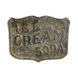 Ice Cream Soda Sign with Stamped Letters and Antique Aged Finish – Reproduction