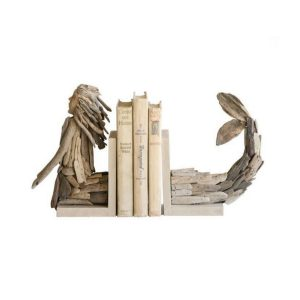 Driftwood Mermaid Bookends Hand Crafted Carved Nautical Beach Shore Home Goods
