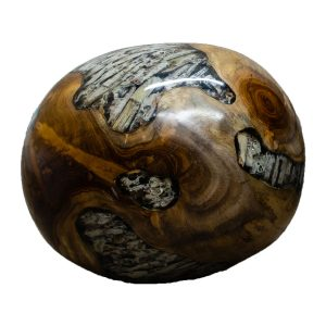 """Teak Wood & Clear Resin/Lucite Plastic Round 11"""" Ball Wood Rare Accent BLR23C-07"""