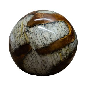 """Teak Wood & Clear Resin/Lucite Plastic Round 11"""" Ball Wood Rare Accent BLR23C-09"""