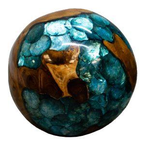 "Teak Wood & Blue Resin/Lucite Plastic Round 11"" Ball Wood Rare Accent BLR23B-02"