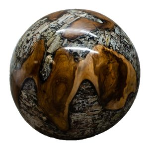 """Teak Wood & Clear Resin/Lucite Plastic Round 11"""" Ball Wood Rare Accent BLR23C-06"""
