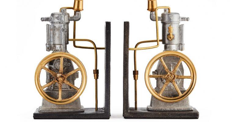 "<mark class=""searchwp-highlight"">Pendulux</mark>'s Vertical Engine Bookends One Lunger Steam Engine Desk Decor"