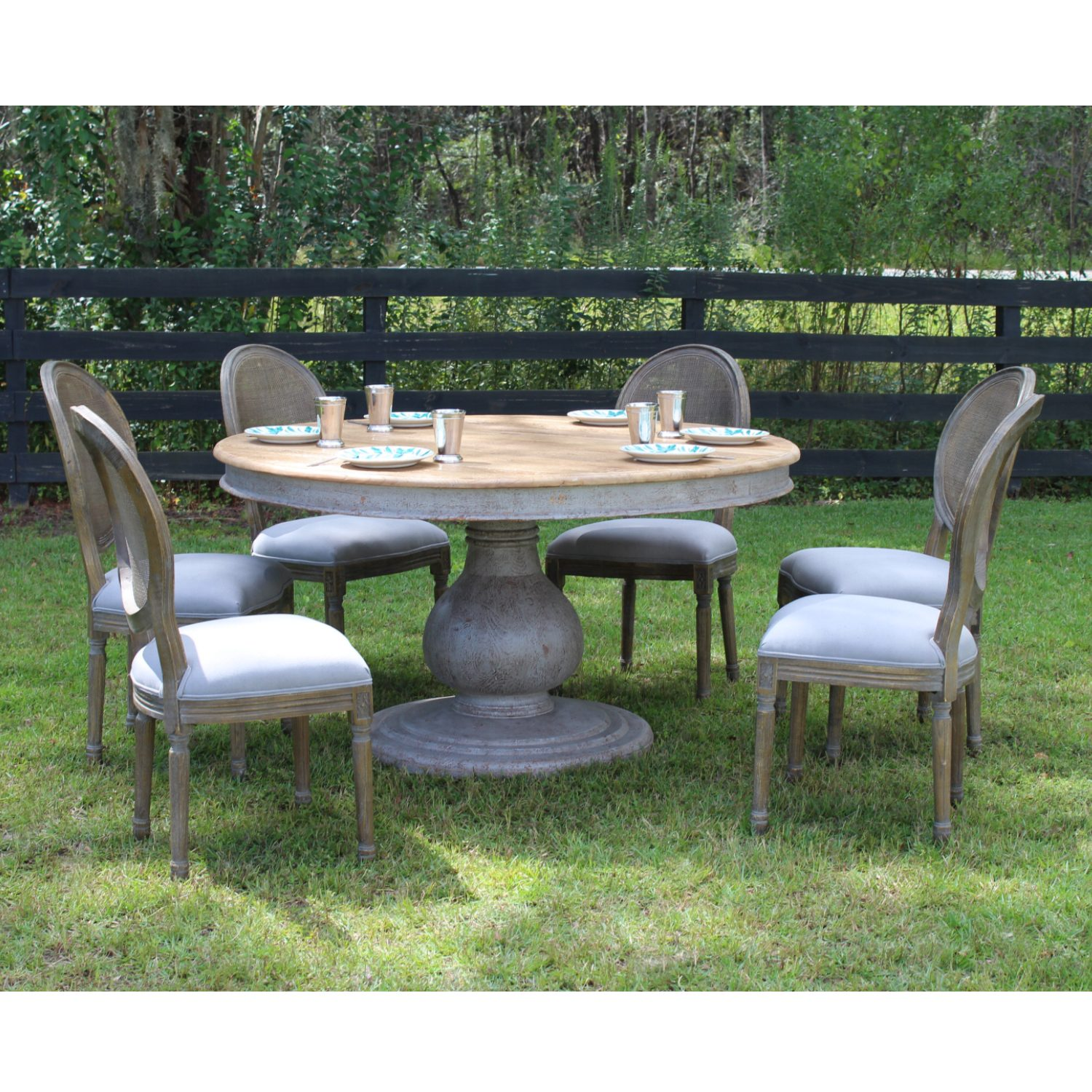 Admirable Gray Recycled Wood Inspired Dining Room Large Round Pillar Table Six Chairs Set Ibusinesslaw Wood Chair Design Ideas Ibusinesslaworg