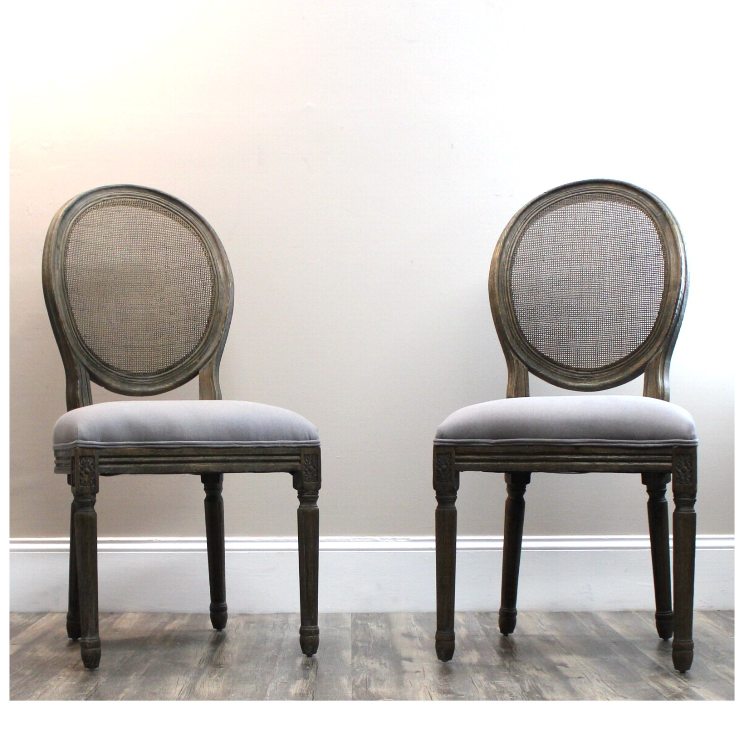 Cane Back Oatmeal Linen Gray Fabric Pair of Side Chairs Great for Kitchen  Table