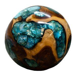 "Teak Wood & Blue Resin/Lucite Plastic Round 11"" Ball Wood Rare Accent BLR23B-03"